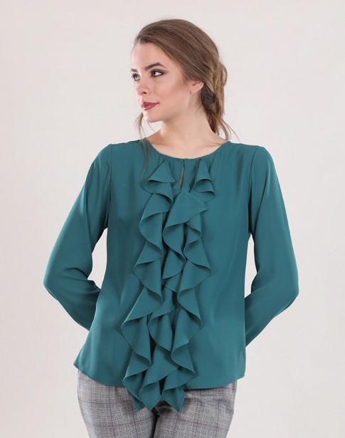 Ruffled Emerald Blouse