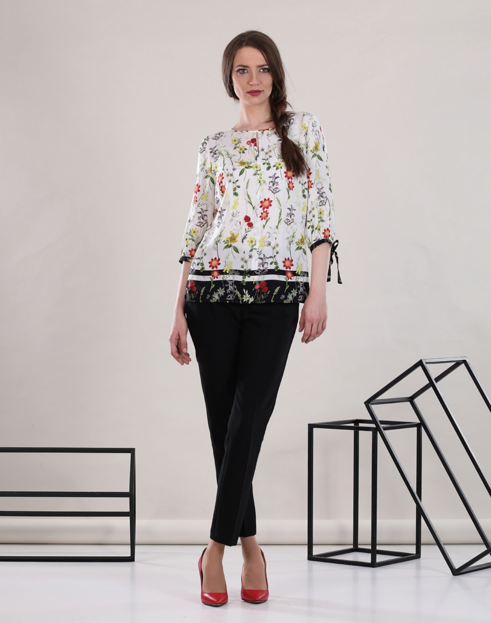 Floral Blouse Slim Black Trousers