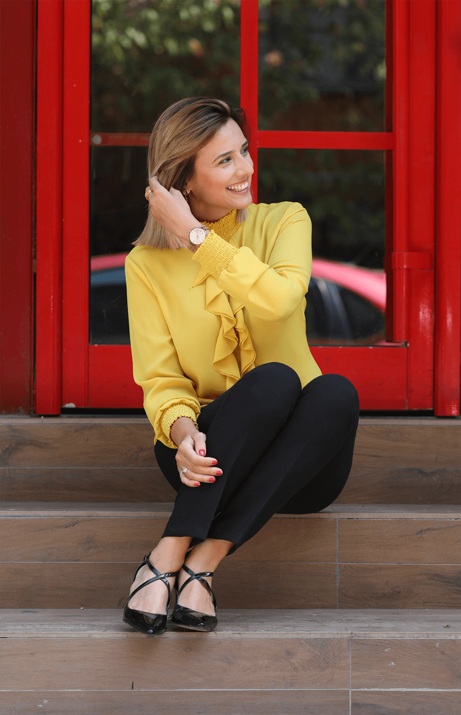 London Mood Yellow Blouse Ruffled